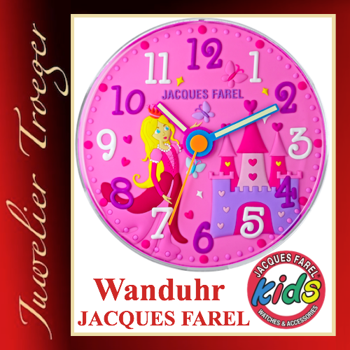 "Jacques Farel ""Clocks"" Uhr Kinder Wanduhr WAL11 Prinzessin"