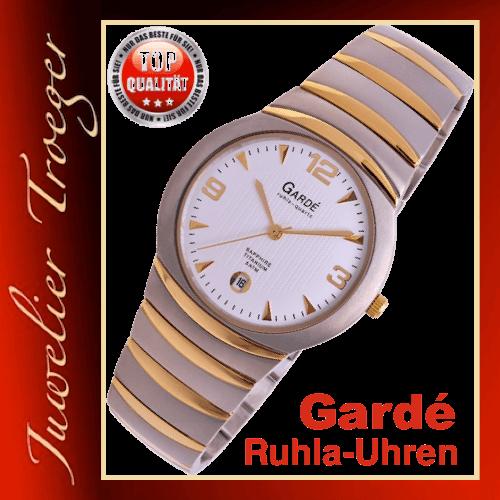 Garde (by Ruhla) Uhr Herren Titan Armbanduhr Modell Elegance 19512 mit Saphirglas