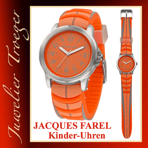Jacques Farel Uhr Kinderuhr  / Jugenduhr Modell Sport SBR282 Neon-orange