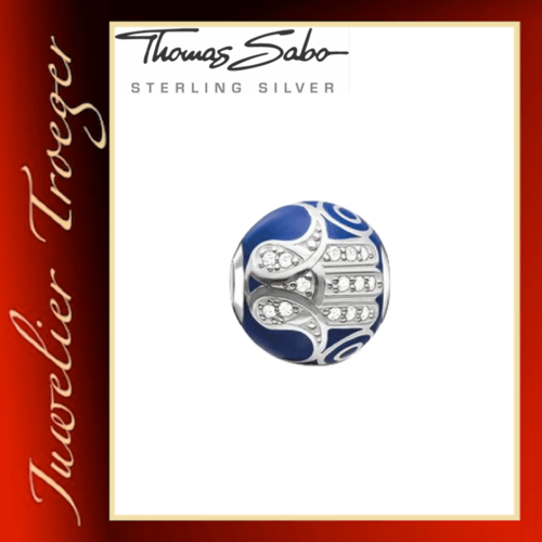 Thomas Sabo Karma Beads - Blaue Fatimas Hand - 925er Sterlingsilber
