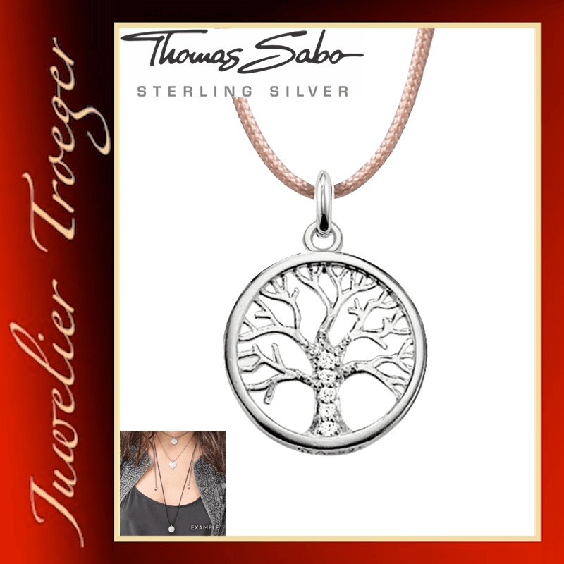 Thomas Sabo Textilkette mit Anhänger Choker - Tree of Love - 925er Sterlingsilber