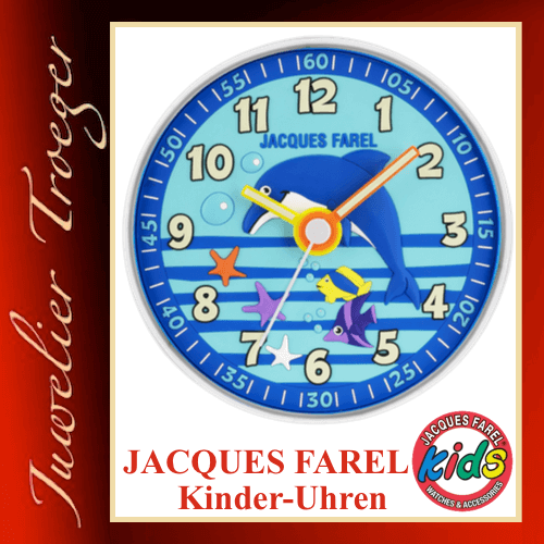 "Jacques Farel ""Clocks"" Uhr Kinder Wanduhr WAL105 Delphin"