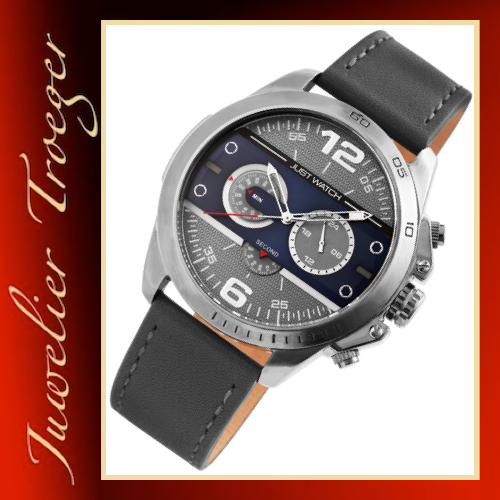 Just Watch Herren Armbanduhr Lederband Chronograph Quarz JW20011-003